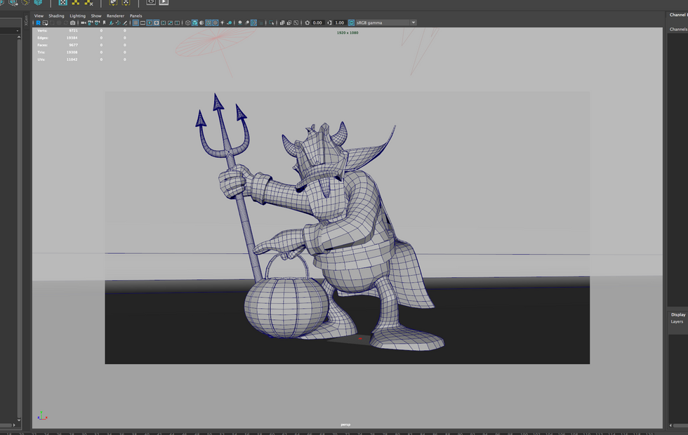 All quads. 3D modeling with Maya and ZBrush.