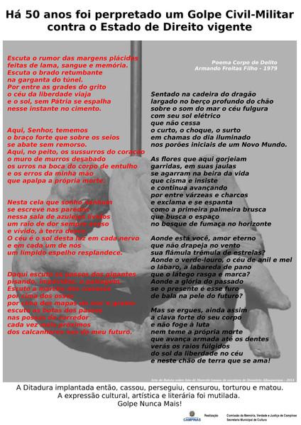 Estandarte Digital da Comissãoda Verdade de Campinas - arte de Batata sobre foro de Marcelo Gomes de escultura de  Demétrio Albuquerque