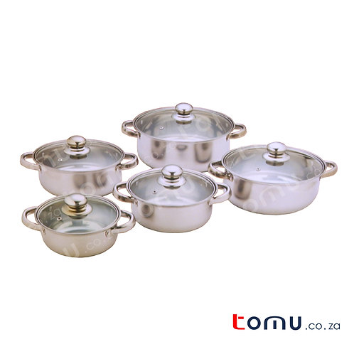 Condere 10 Pieces Stainless-Steel Pot Set (Glass Lid) - 16-24cm - CDH-003