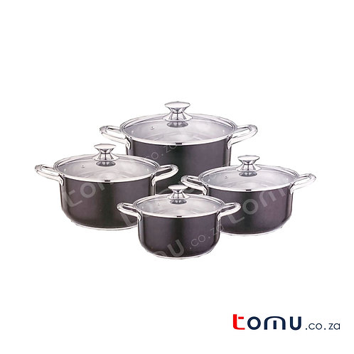 Condere 8 Pieces Stainless-Steel Pot Set (Black) - CDH-005