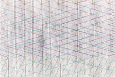 WEFABRIKオフィスの壁。不織布に生地の織り組織をイメージしたグラフィックがプリントされています。デザインはWEFABRIKによるものです。
