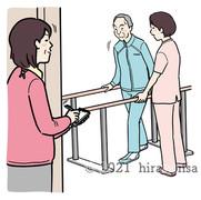 リハビリをする老人を見守るケアマネジャーのイラスト