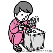 一斗缶に納豆を入れる男性のイラスト