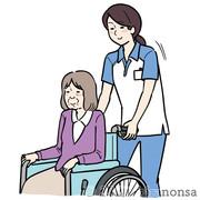 女性ケアマネジャーと車椅子の老人のイラスト
