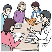 ケアマネジャーと医者とスタッフの会議のイラスト
