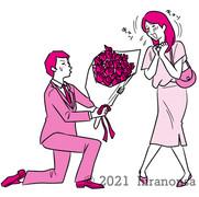 バラをプレゼントしてプロポーズをする男性と喜ぶ女性のイラスト