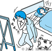 目覚めてすぐに着替える女性のイラスト