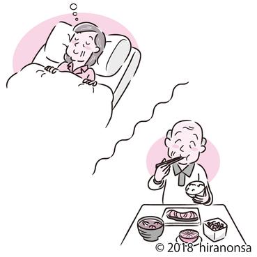 老人と睡眠と食事