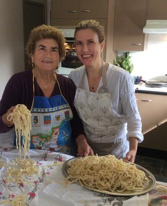 Mum and I making fresh pasta