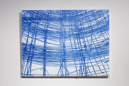 Wire 2 wall piece; white & blue