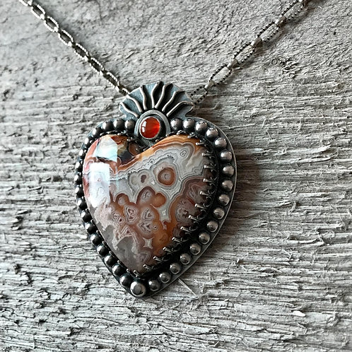 Milagro Heart Pendant with Laguna Crazy Lace Agate