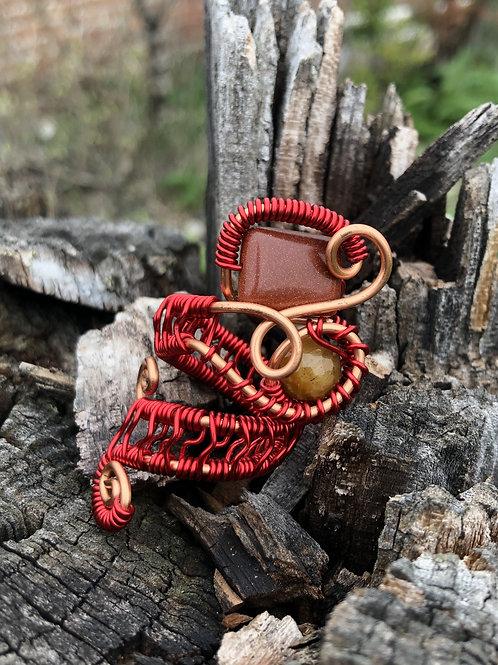 RahCrystals Tigers Eye & Gold Stone Ring