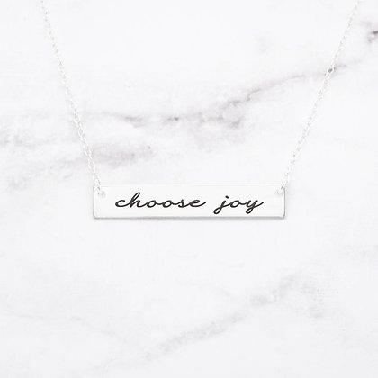 """Choose Joy"" Bar Necklace"