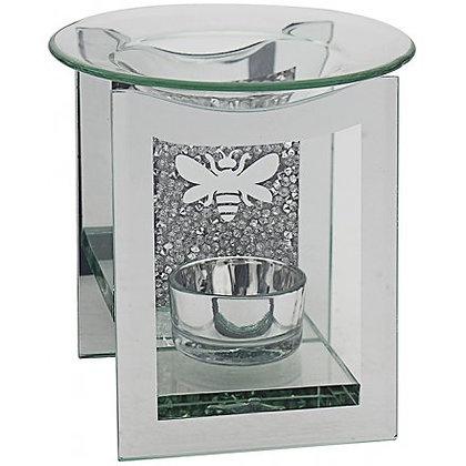 Crystal Glass Oil Burner - Silver Bee