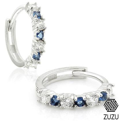 Silver CZ & Sapphire Blue Cartilage Huggie Earrings