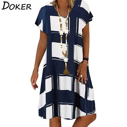 Summer Lattice Print Dress