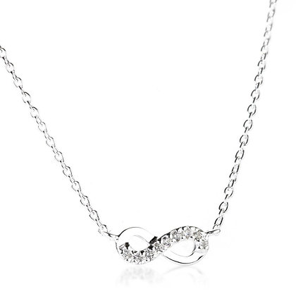 Sterling Silver Crystal Infinity Choker Necklace