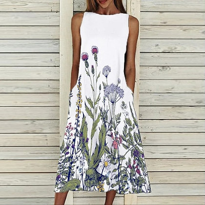 Sleeveless Casual Pocket Dress