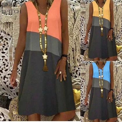 3-Colour Sleeveless Dress