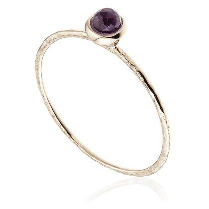 Rose Gold Round Amethyst Stacking Ring