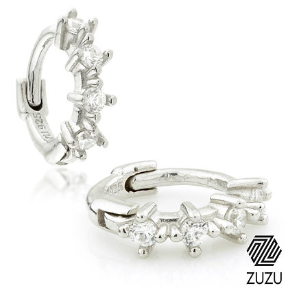 Silver Tiny CZ Cartilage Huggie Earrings