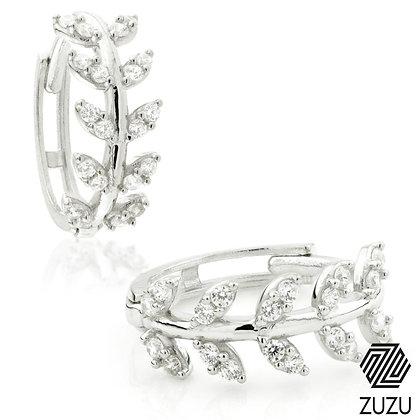 Silver Crystal Leaf Gem Huggie Earrings