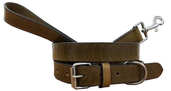 BRADLEY CROMPTON Genuine Leather Matching Pair Dog Collar and Lead Set
