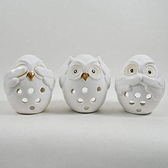 SET OF 3 PROCELAIN CERAMIC OWL TEALIGHT HOLDER