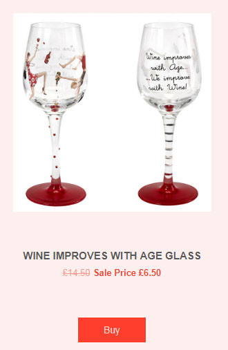 Wine improves with age glass - St. Valentine gift by Lainey Land