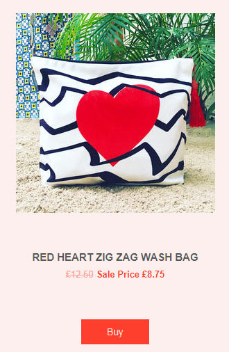 Red heart wash bag - St. Valentine gift by Lainey Land