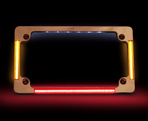 QUAD HORIZONTAL MOTORCYCLE PLATE FRAMES WITH FLUSHMOUNT LEDS & LED PLATE ILLUMIN