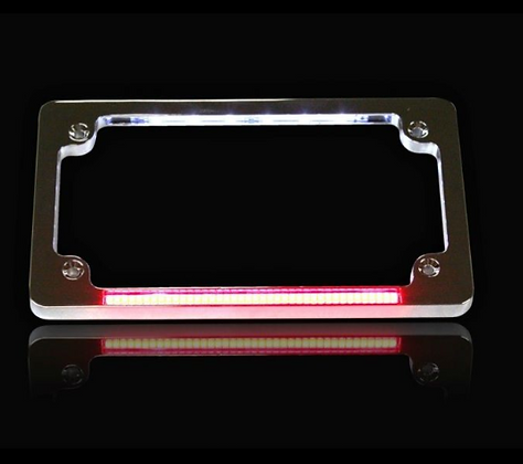 HORIZONTAL MOTORCYCLE PLATE FRAMES WITH LED TRUFLEX® LIGHT BAR & LED PLATE ILLUM