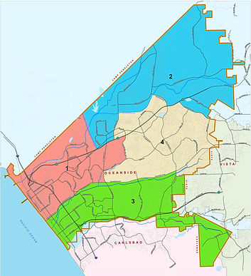 Oceanside california map with districts