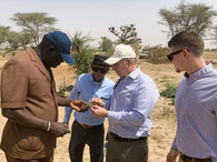 (left to right) Dr. Aliou Faye speaks to Dr. Prasanta Kalita, Dr. George Czapar, and Leyton Brown at a research field within Regional Center of Excellence on Dry Cereals and Associated Crops (CERAAS) in Thies, Senegal