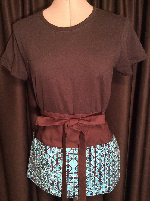 Crafters Apron-Brown & Turquoise geometric