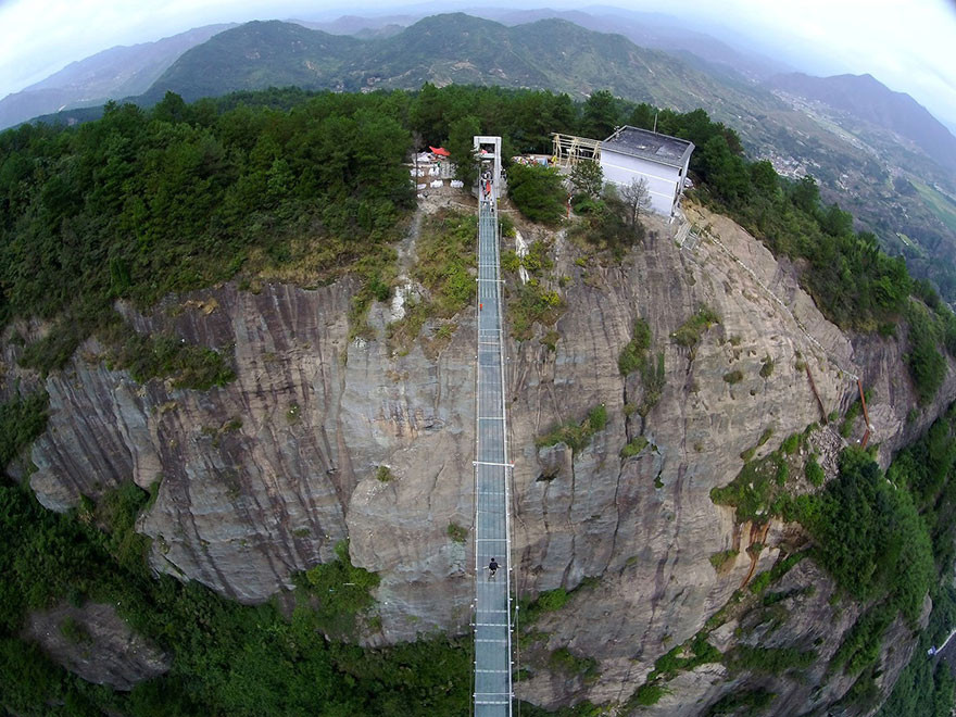 World's Longest Glass Bridge, Shiniuzhai Geopark in Hunan, China