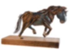 paper sculpture, blue, work horse