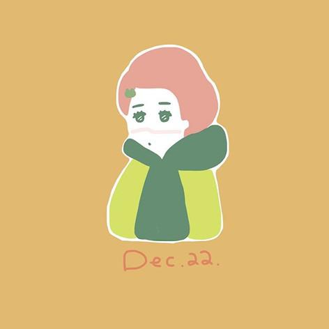 毎日イラストをその日の自分のファッションを元に描いています。配色は、『レトロポップ』に当時着ていた深緑のパーカーに似合うようにしました。
