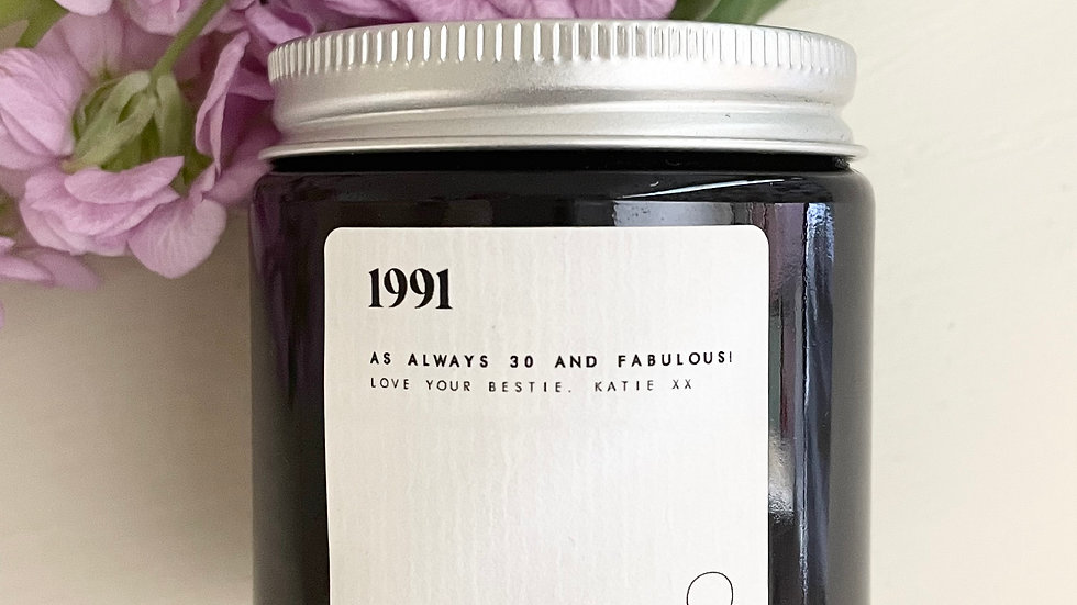 personalised candle - amber glass