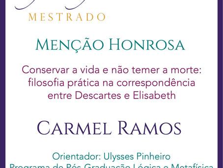 Prêmio Filósofas Mestrado: Menção Honrosa para Carmel da Silva Ramos (PPGLM-UFRJ)