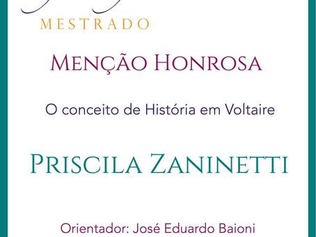 Prêmio Filósofas Mestrado: Menção Honrosa para Priscila Zaninetti (PPGF-UFSCAR)