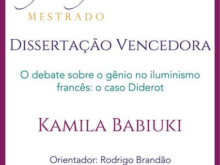 Prêmio Filósofas de Destaque Acadêmico em Mestrado vai para Kamila Cristina Babiuki (PPGF-UFPR)