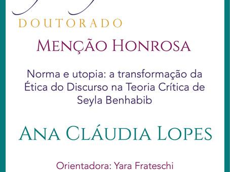 Prêmio Filósofas Doutorado: Menção Honrosa para Ana Cláudia Lopes (PPGF-UNICAMP)
