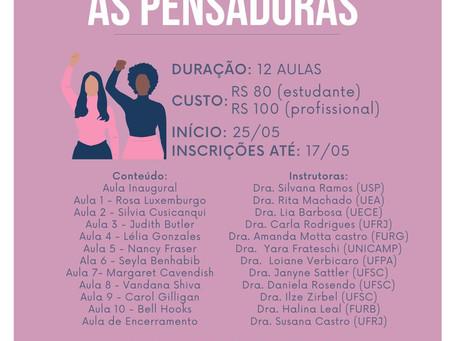 Curso On line: As Pensadoras ABERTAS INSCRIÇÕES - TURMA 3