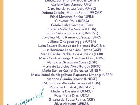 Comissão avaliadora do Prêmio Filósofas: nossos agradecimentos