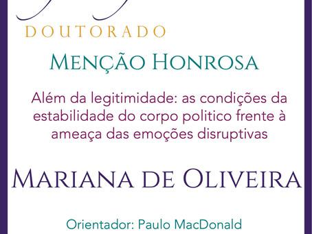 Prêmio Filósofas Doutorado: Menção Honrosa para Mariana Kuhn de Oliveira (PPGF-UFRGS)