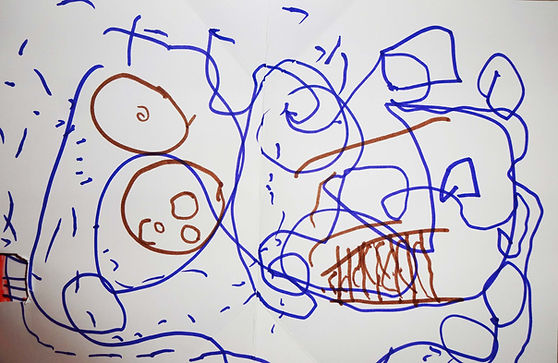 Here is a picture that a 5 year old girl with CVI drew. The picture is really chaotic but she describes it...