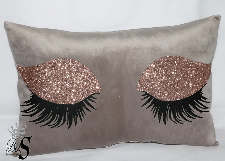 Eyelash Premium Soft Plush Mink Velvet, Rose Gold Glitter Cushion Cover.