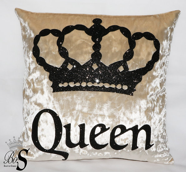 "Cream Crushed Velvet, Glitter ""Queen"" ""King"" Cushions."