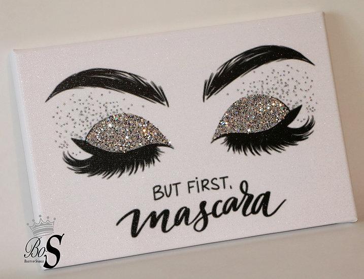 "Sparkle Glitter canvas print ""But first mascara"""